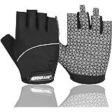 Gel Cycling Gloves Fingerless Padded Mountain Bike Bicycle Gloves Anti-slip Gym MTB Half Finger Reflective Biking Mitts Shock