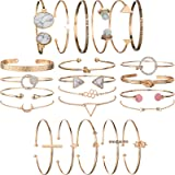 5 PACK (23pcs ) Multiple Layered Stackable Open Cuff Wrap Bangle Bracelet Jewelry Adjustable for Women Girls Wholesales Set A