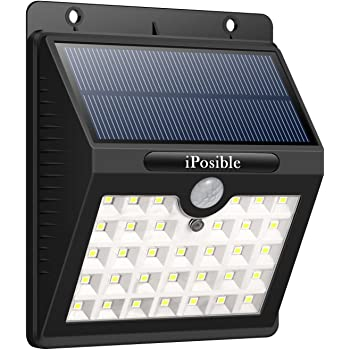 iposible Solar Security Lights, Upgraded 33 Led Motion Sensor Lights Solar Powered Lights Waterproof with 3 Intelligient Modes Outdoor Wireless Wall Lights For Patio, Fence, Yard, Garden, Garage
