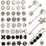 ZXT 46 Pezzi Camicia da Donna Spilla Bottoni Spilla,Bottoni a Spilla di Perle,Bottoni a Spilla da Donna,Camicia Piccolo di Si