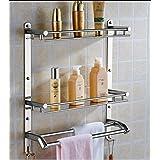 OSLEN Stainless Steel Double Layer Shelf with Towel Road,Multipurpose Wall Mount Bath Shelf Organizer,Kitchen Shelf/Bathroom
