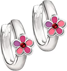 CLEVER SCHMUCK Silberne Kindercreole Ø 12 mm Blume pink rosa abgestuft mit Zirkonia rot STERLING SILBER 925 für Kinder
