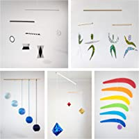 Set of 5 Montessori inspired mobiles - Black and white mobile, Blue Gobbi, Dancers, Octahedron, Rainbow. Montessori…