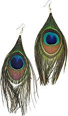 Total Fashion Fancy Party Wear Peacock Feather Dangle Earrings For Women & Girls