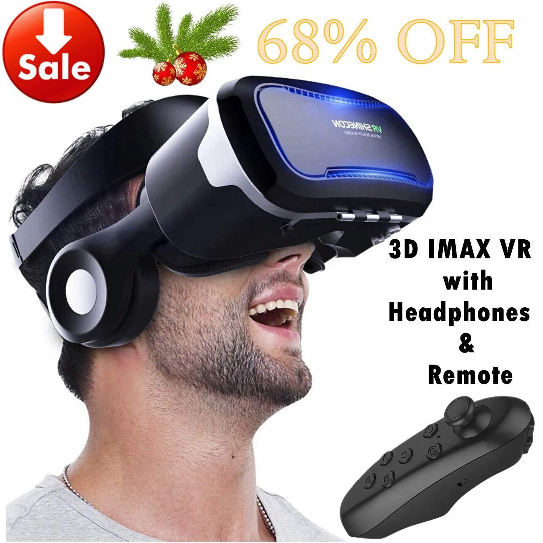 Casque en verre de réalité virtuelle VR avec télécommande et casque pour iPhone XR XS X 8 7 6 Plus, Samsung S9 S8 S7 S6 Edge Note 5, lunettes 3D VR pour jeu vidéo 3D pour iOS Smartphone Android, Noir