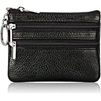 Women's Genuine Leather Coin Purse Mini Pouch Change Wallet with Key Ring (Black)