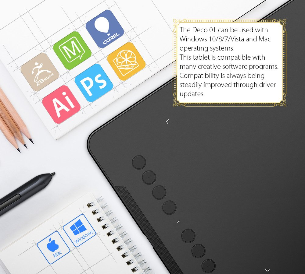 XP-PEN Star03 Drawing Tablet 12 inch with 8 Hot Keys, Battery-free Graphic  Tablet Pens 10x6