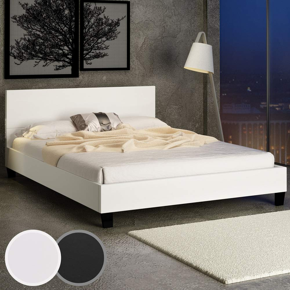 miadomodo lit double en simili cuir avec sommier lattes inspid co. Black Bedroom Furniture Sets. Home Design Ideas