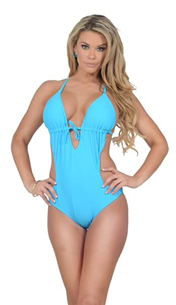 costume da bagno donna intero imbottito scollo profondo capestro cutout monokini amazonit sport e tempo libero