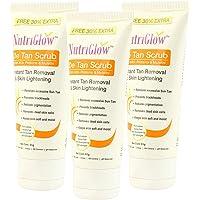 NutriGlow Skin Care De Tan Scrub - Oil Control Unisex Daily Use Skin Lightening Tan Removal (Pack of 3, 65ml Each)