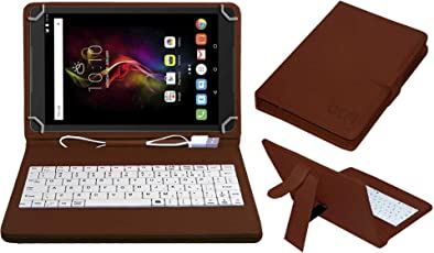 ACM USB Keyboard Case for Alcatel Pop 4 10.1 Tablet Cover Stand with Free Micro USB OTG - Brown