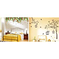 Decals Design 'Tree with Birds and Cages' Wall Sticker (PVC Vinyl, 30 cm x 90 cm, Brown) & 'Realistic Daisy Flowers Falling' Wall Sticker (PVC Vinyl, 60 cm x 90 cm, Multicolor) Combo