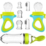Baby Food Feeder, DDMA 2 Pack Baby Fruit Feeder Pacifier Fresh Food Feeder with 3 Sizes Silicone Pouches, 2 Silicone Baby Too