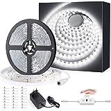 Ustellar Ruban LED Blanc Froid 12M avec Détecteur de movement, 24V 6000K 3600lm 720LEDs 2835 Bande LED Autocollant Eclairage