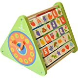 Shumee 5-in-1 Wooden Activity Triangle for Kids (2+ Year olds) - Learning Toy with Abacus, Chalkboard, Alphabet Blocks, Clock