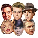 Star Cutouts smp67Audrey Hepburn/Steve Mcqueen/Monroe/James Dean/Elvis/Humphrey Bogart Hollywood/Fiesta Máscara, Talla única