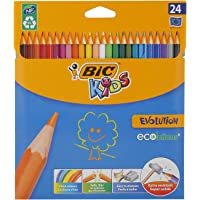 BIC Kids Evolution ECOlutions Colouring Pencils, Assortment of Coloured Pencils (4.3mm), Pack of 24