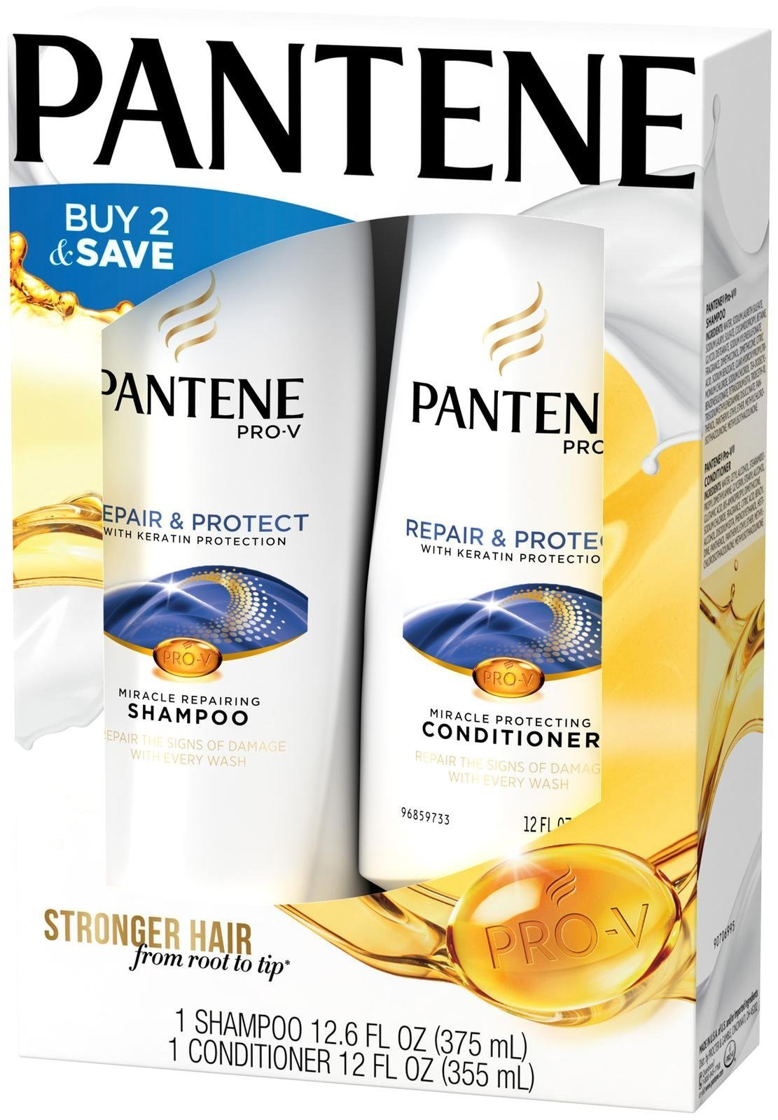 Pantene Pro V Repair and Protect w/ Keratin Shampoo (12.6 Oz) + Conditioner (12 Oz) by Pantene
