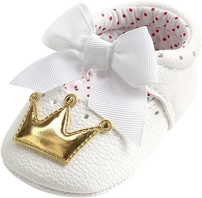 WINJIN Chaussures bébé Filles Nouveau-né Chaussons Cuir Souple Couronne Princesse Chaussures Premiers Pas Respirant Chaussures Semelle Souple Baskets Anti-Slip Infant Baby Girl 0-18 Mois Or Argent