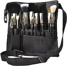 Hotrose 22 Fächer Proffesionelle Kosmetik Pinseltasche PU Makeup Tashe Hüftetashce für Maskenbildner oder Maskenbildnerin (Schwarz)