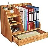 Zengest Organiseur de bureau multifonction DIY Office en bois avec tiroir, boîte de rangement pour bureau (32,6 x 23,9 x 29,1