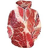 Fasching Kostüm, FNKDOR Rohes Fleisch Gedruckt Pullover Langarm mit Kapuze Sweatshirt Tops