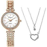 HAHALU Orologio collana Set di orologi da collana,Classico Orologio da Polso al Quarzo,Orologio da Donna, il Miglior…