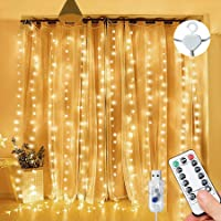 Curtain Fairy Lights Waterproof, 3m×3m 300LED Fairy Lights with 8 Modes Remote Control Timer Adjustable Brightness…