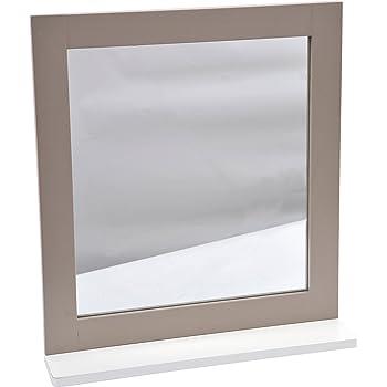Tendance Lambiance Romantique Mdf Miroir Avec étagère Taupe 48 X 10 X 535 Cm