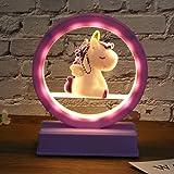 mesa de unicornio luz decoración de dormitorio música lámpara de noche regalo de cumpleaños para niña sin batería incluida -