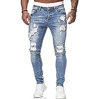 WangsCanis uomini di modo fori denim pantaloni jeans strappati pantaloni skinny jeans slim fit lunghi denim di lavoro…