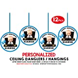 WoW Party Studio Personalized Boss Baby Theme Ceiling Hangings Danglers with Birthday Boy/Girl Name (12 Pieces)