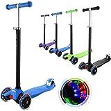 OUTCAMER Monopattino per Bambini con 3 Ruote Illuminate in LED Regolabili Altezze Manubri Scooter per Bambini 3-10 Anni Caric