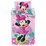 Disney Minnie - Juego de cama de 2 piezas, funda nórdica de 140 x 200 cm y funda de almohada de 70 x 90 cm