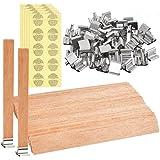 50 قطعة شموع خشبية من اوفنمي مع حافظة معدنية وملصقات تحذير، شموع يدوية الصنع، 13x1.3 سم/5.1x0.5 انش