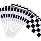 """Novelty Place 8""""x5.5"""" Checkered Black and White Racing Stick Flag - Plastic Stick - Decoraties voor Racing, Race Car Party, S"""