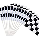 Novelty Place 8'x5.5' Checkered Black and White Racing Stick Flag - Plastic Stick - Decorations for Racing, Race Car…