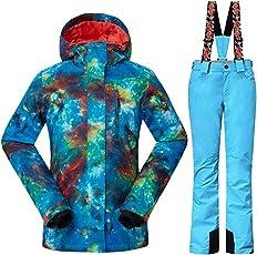 Wonny 2 Teilig Skianzug Wasserdicht Schneeanzug Jacke und Hosen Unisex Skiset XS,S,M,L