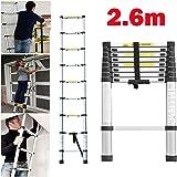 Mehrzweckleiter 2,6m Teleskopleiter Alu-Klappleiter Rutschfester Ausziehbare Robust Stehleiter 150 kg/330 Pfund Belastbarkeit