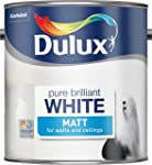 Dulux Matt Emulsion Paint For Walls And Ceilings - Pure Brilliant White 2.5L