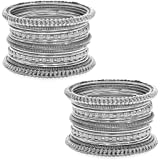 Peora Traditional Antique Look Oxidised Silver Plated Bangle Set for Women Girls (Set of 2)