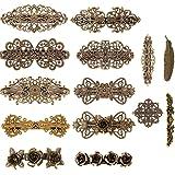 14 Piezas de Clips de Pelo Vintage Pinza de Pelo en Forma de Hoja Bronce Clip de Cabello en Forma para Mujeres Chicas