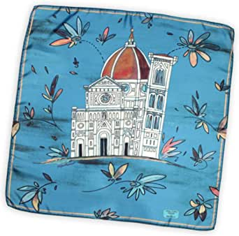 Santa Maria del Fiore foulard 70x70 cm pura seta made in Italy. Riproduce il Duomo di Firenze in versione artistica e floreale.
