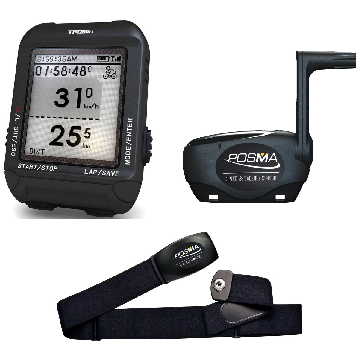 71K5KzT ioL - TRYWIN/POSMA D3 GPS Cycling Bike Computer Speedometer Odometer Navigation, ANT+ Support STRAVA MapMyRide (BHR20 Heart Rate Monitor BCB20 Speed/Cadence Sensor Bundle Option Available)