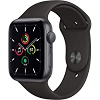 New Apple Watch SE (GPS, 44mm) Space Gray Aluminum Case with Black Sport Band