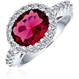 Bling Jewelry 3CT Oval Solitaire Cubic Zirconia CZ Pave Simulated Red Garnet Statement Fashion Ring for Women Silver Plated B