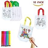 XUNKE Gör-det-själv barn tygpåse set, 10 stycken nonwovent-väska för att måla själv, gör-det-själv graffiti väskor perfekt fö