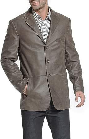 BGSD Men's Nathan 2-Button Distressed Leather Blazer Cowhide Sport Coat Jacket
