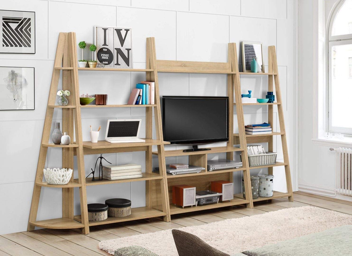 71K6g4A6ZdL - Birlea, Dayton, Ladder Bookcase, Wood, Oak, One Size