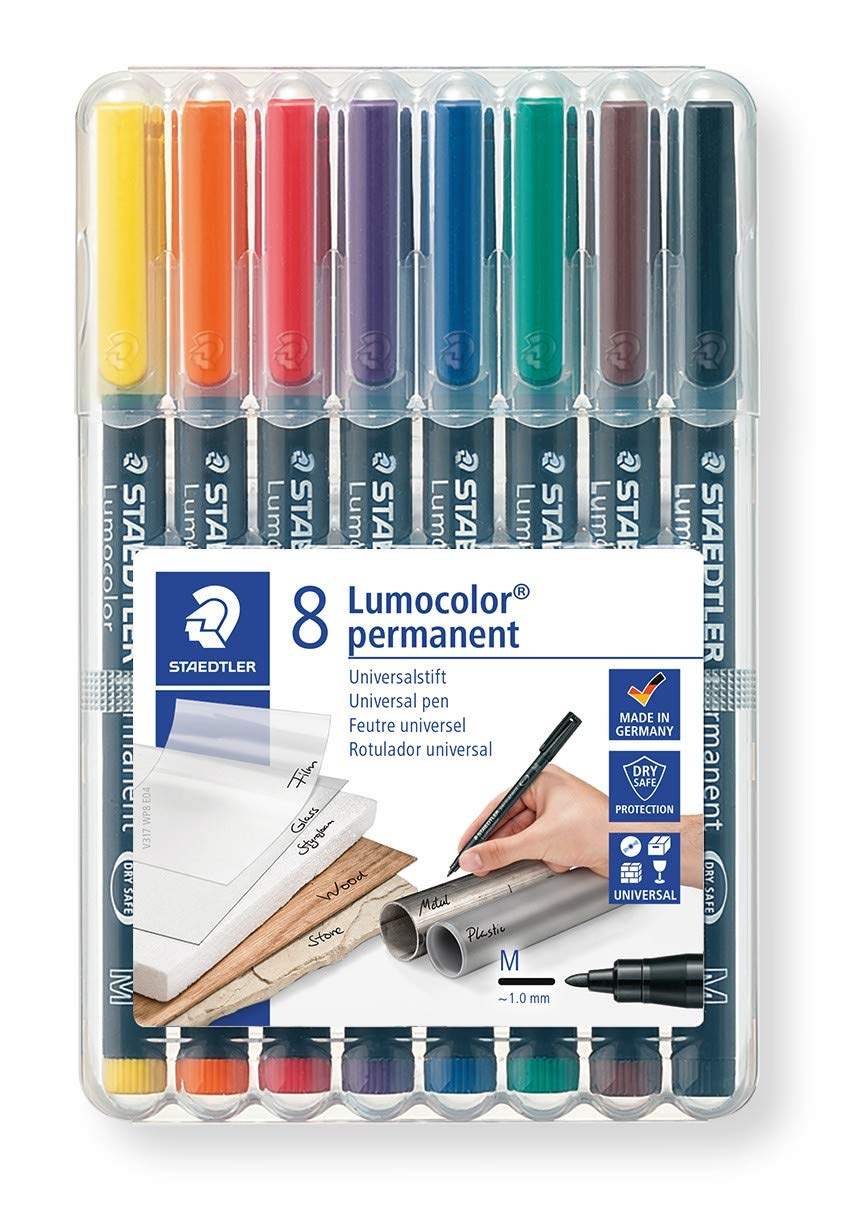 STAEDTLER- Lumocolor Estuche 8 rotuladores Retro Permanente con Punta Media, Colores Surtidos (317WP8)
